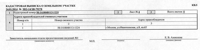 Кадастровая выписка о земельном участке. Раздел КВ5